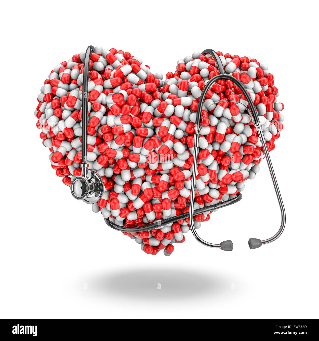 Heart pills stethoscope, 3D render of medicine capsules forming heart with stethoscope wrapped around it Stock Photo