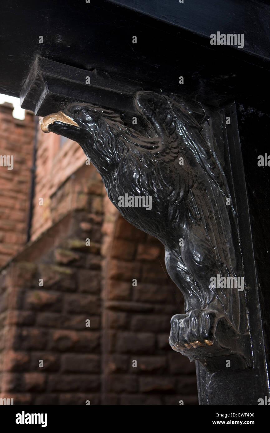 UK, England, Shropshire, Bridgnorth, Northgate, carved wooden eagle on pillar of Tudor Tearoom - Stock Image