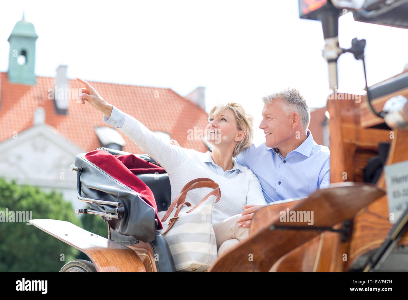 Middle-aged woman showing something to man while sitting in horse cart - Stock Image