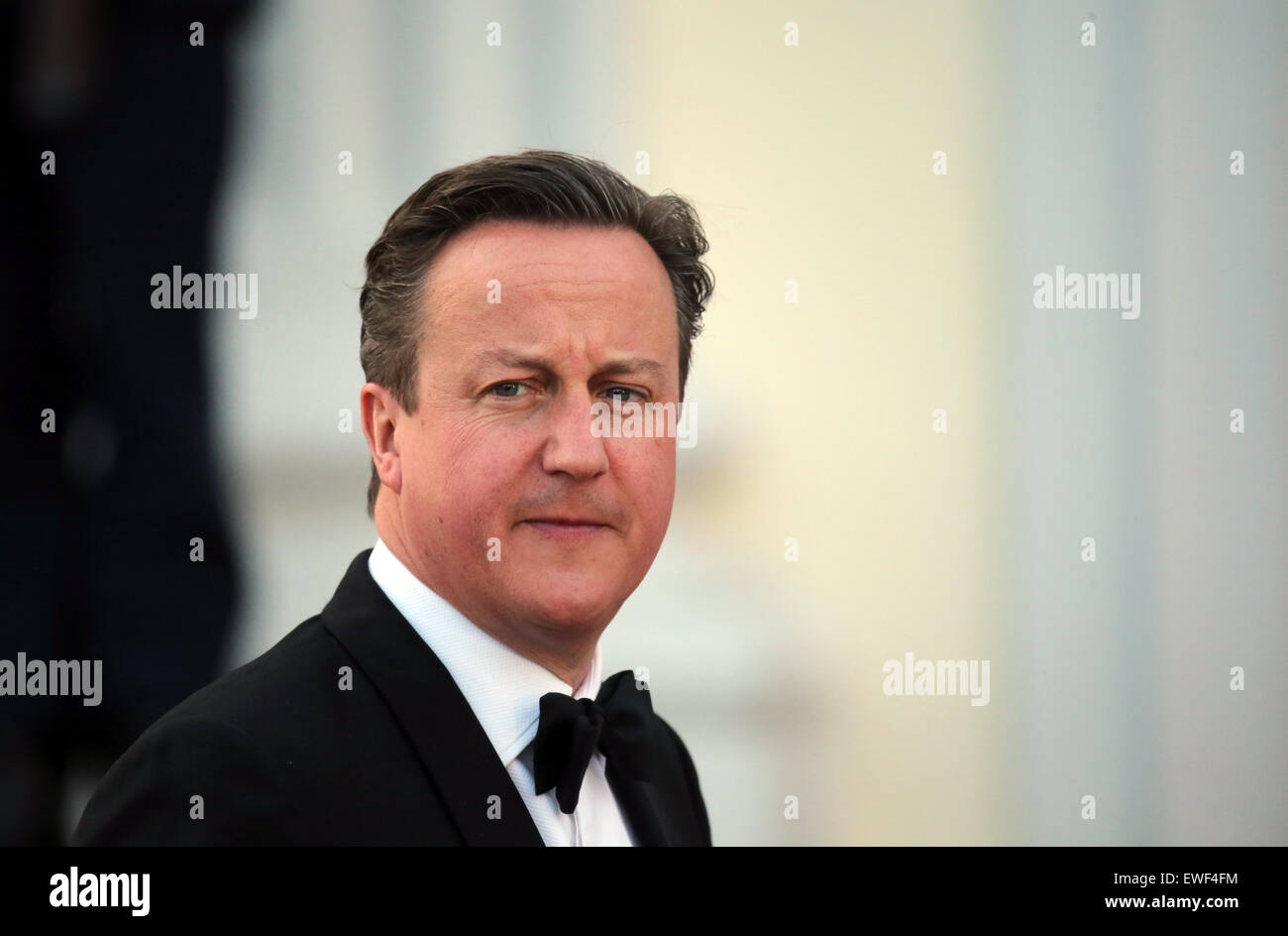 British Prime Minister David Cameron arrives to a state banquet in honor of the British Queen at Bellevue Palace in Berlin,Germany, 24 June 2015. The Queen and her husband are on their fifth state visit to Germany. Photo: KAYNIETFELD/dpa Stock Photo