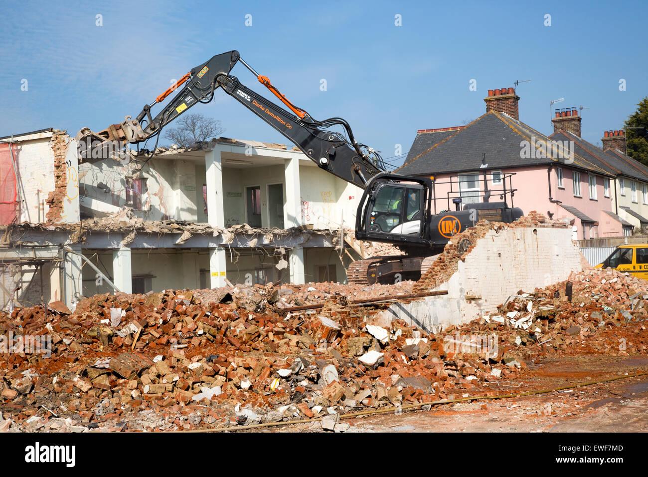 Demolition site former factory building, Woodbridge, Suffolk, England, UK - Stock Image