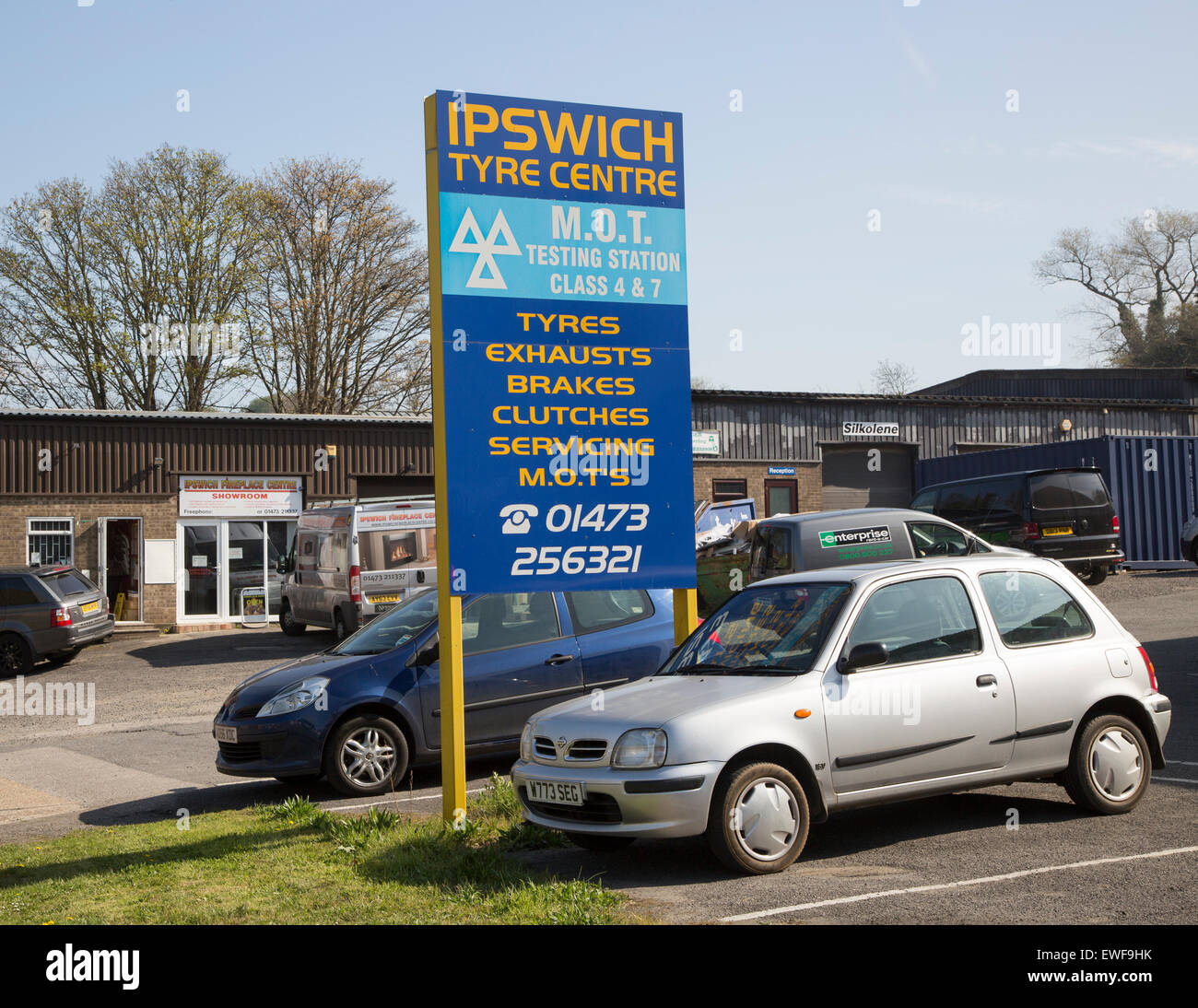 Tyre Centre and MOT testing centre, Ipswich, Suffolk, England, UK - Stock Image