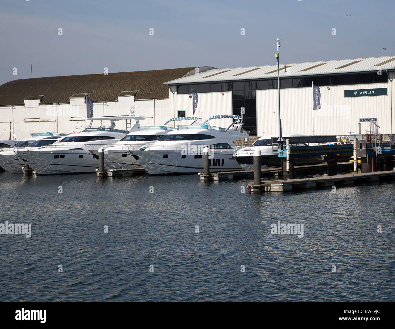 Fairline Luxury Motor Yachts, Ipswich, Suffolk, England, UK Stock Photo