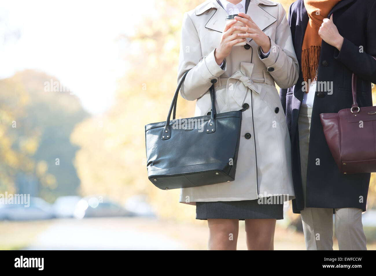 Midsection of businesswomen carrying purses at park Stock Photo