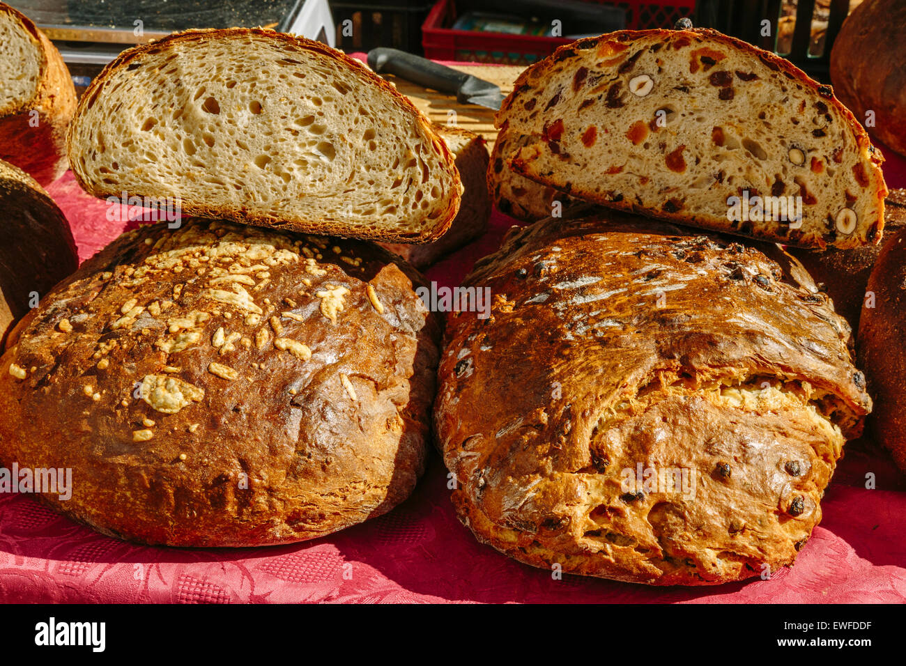 Bread for sale at Farmer's Market, Bergs Bazaar, Riga Latvia - Stock Image