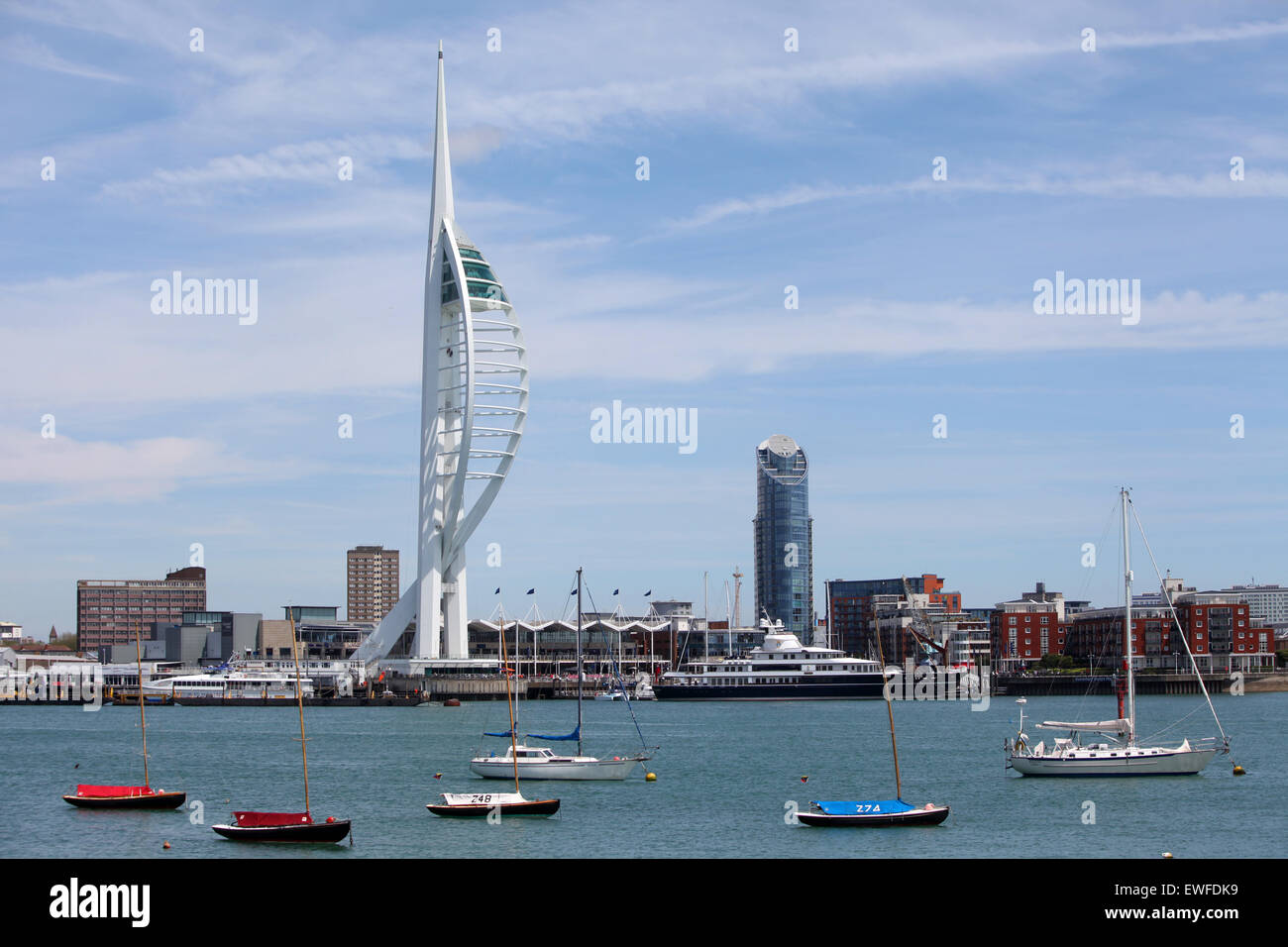 Spinnaker Tower and Gun Wharf Quays in Portsmouth pictured from Gosport - Stock Image