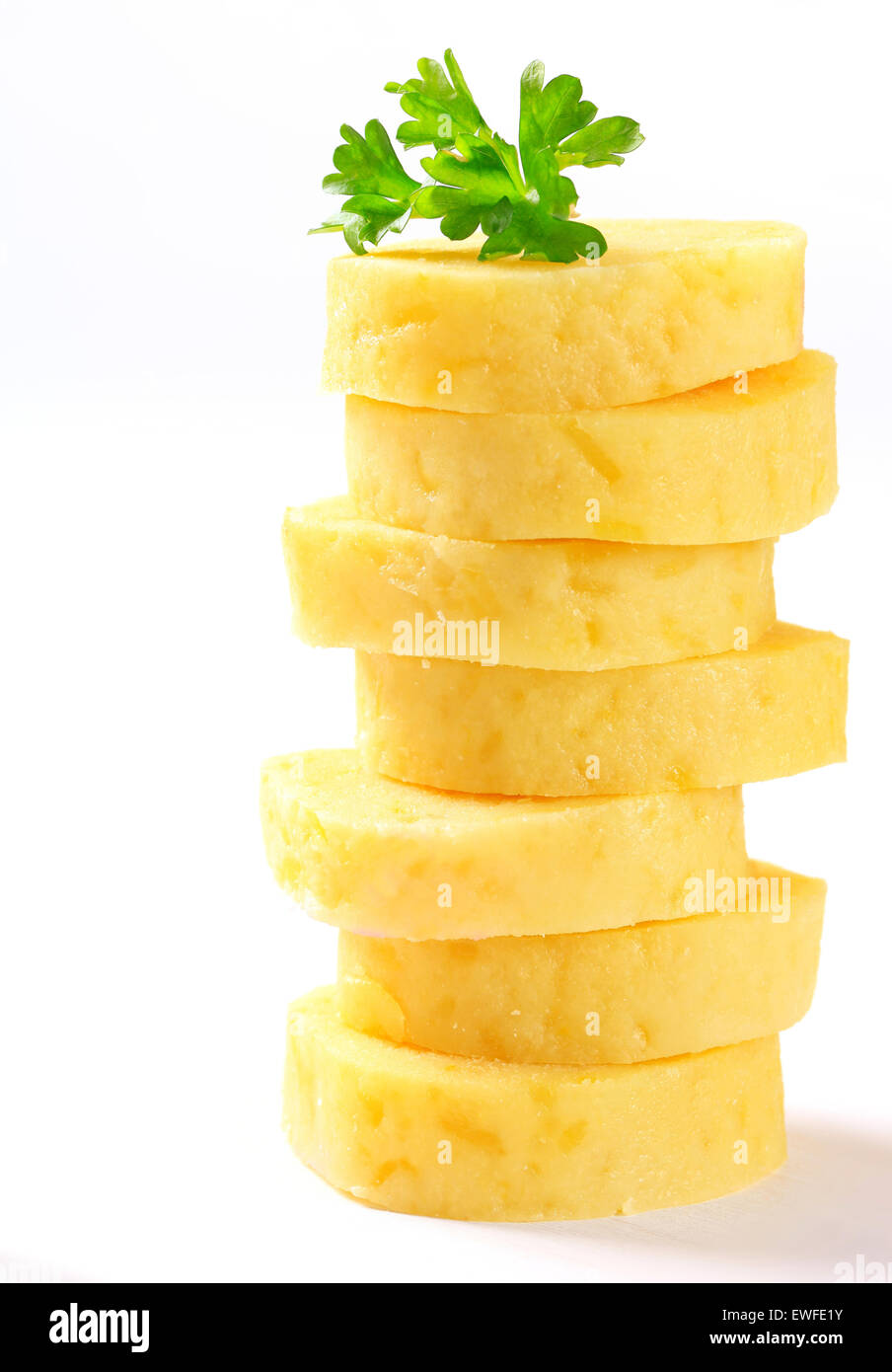 Stack of sliced potato dumplings - Stock Image
