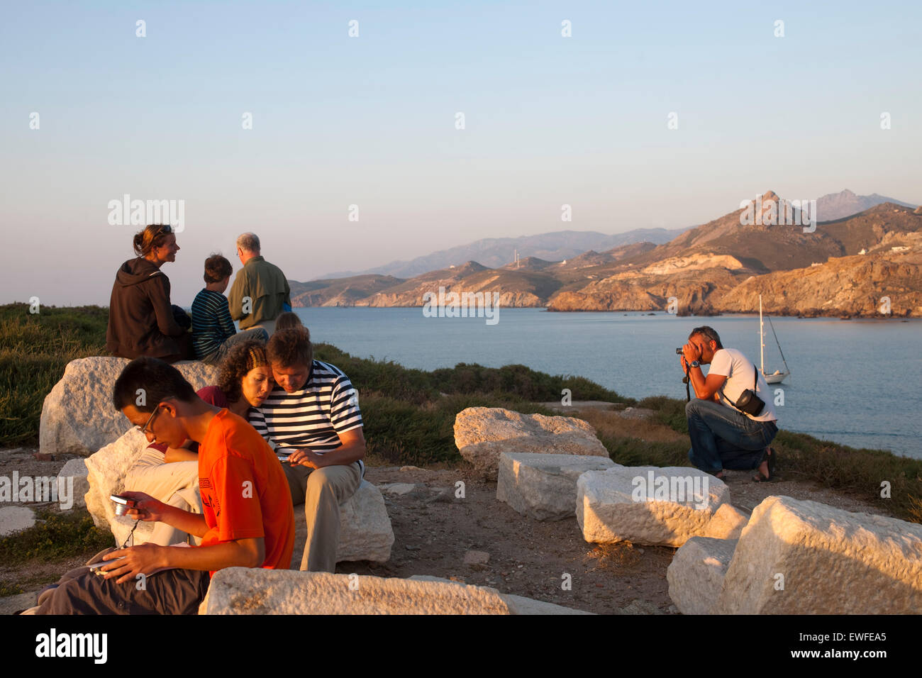Griechenland, Kykladen, Naxos, Naxos-Stadt, am Apollon-Tempel auf der Halbinsel Sto Palati Stock Photo