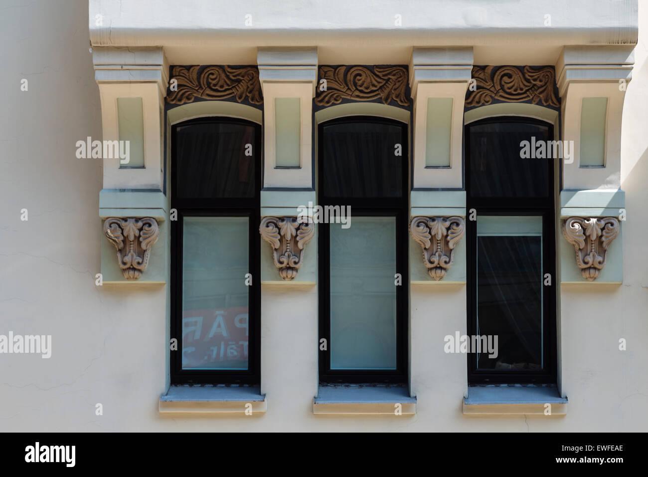 Facade of Art Nouveau (Jugendstil) building at Vilandes Iela 12 in Riga, Latvia - Stock Image