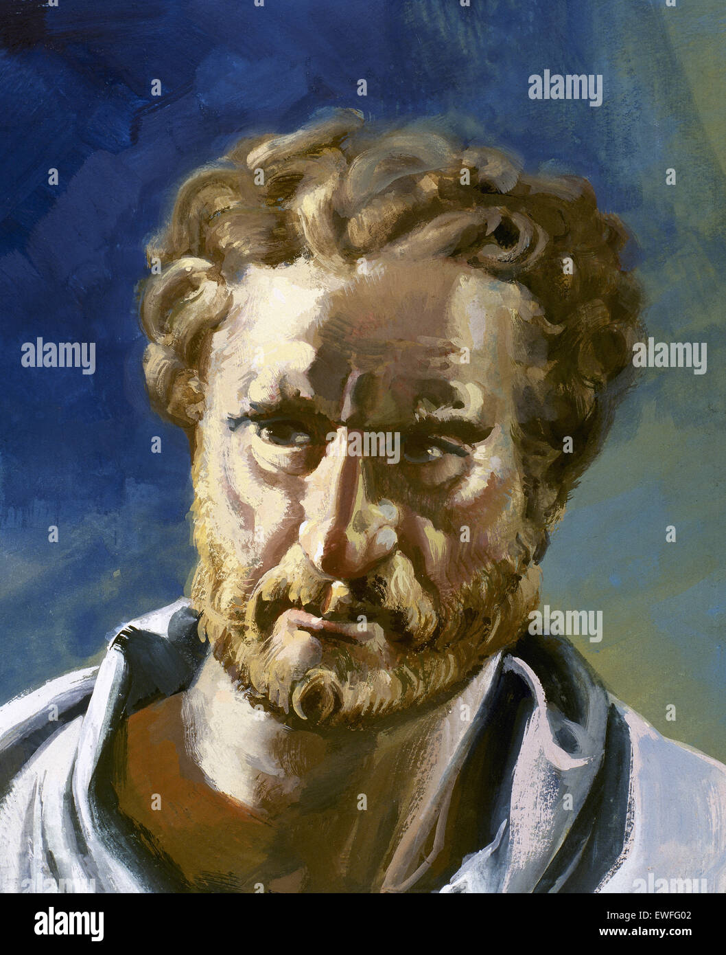 Demosthenes (384-322 BC). Political and Athenian orator. Portrait. - Stock Image