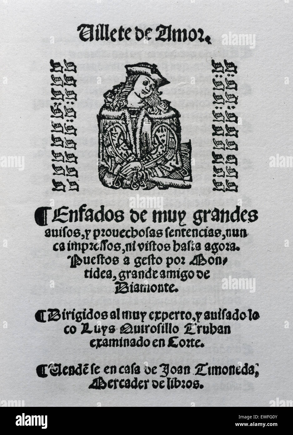 Villete de Amor by Baptista Montidea. Song book. Addressed to Luys Quirosillo Truhan. - Stock Image
