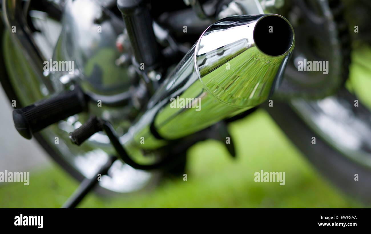 Triumph Bonneville classic motorcycle trademark peashooter exhaust