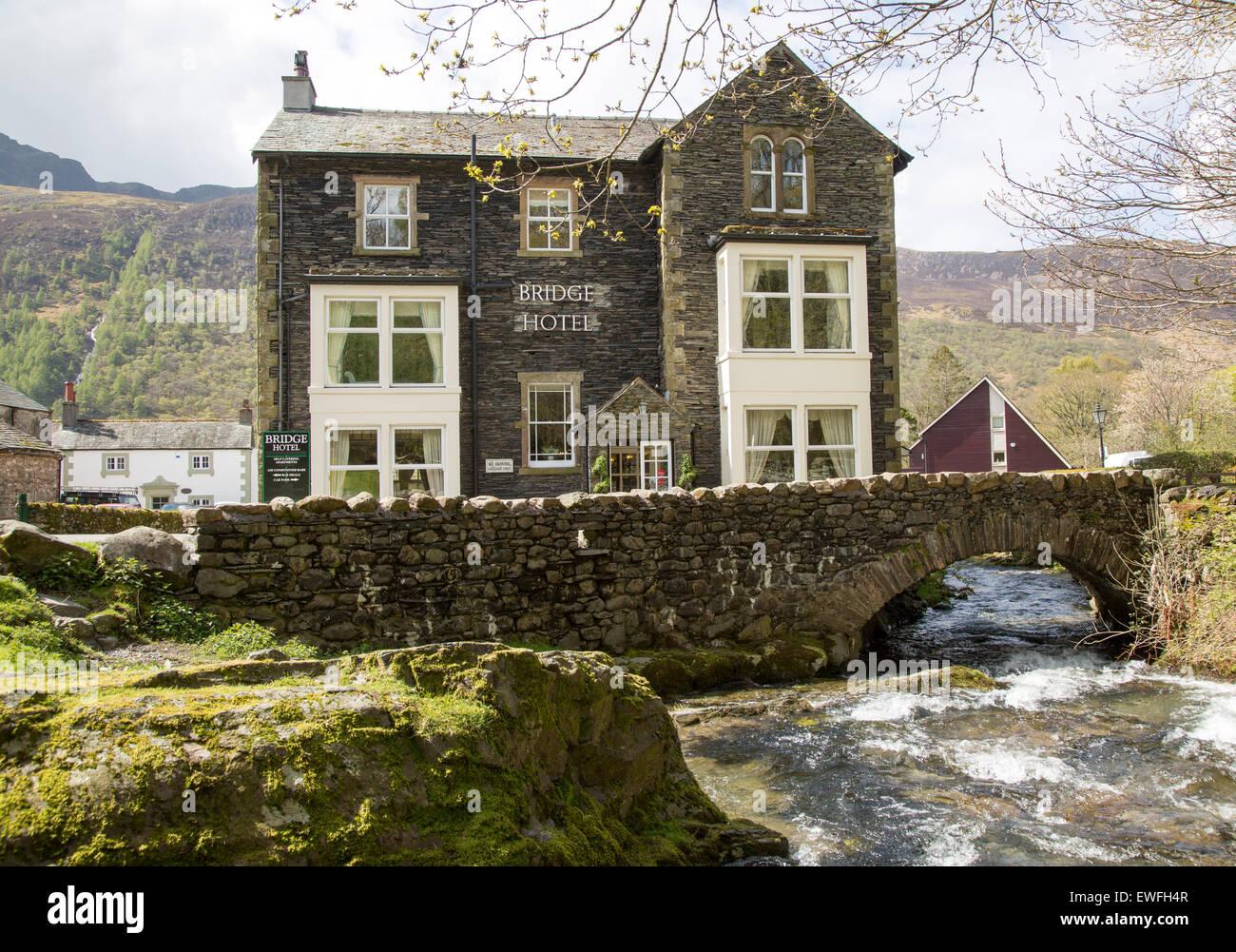 The Bridge hotel, Buttermere village, Cumbria, England, UK - Stock Image