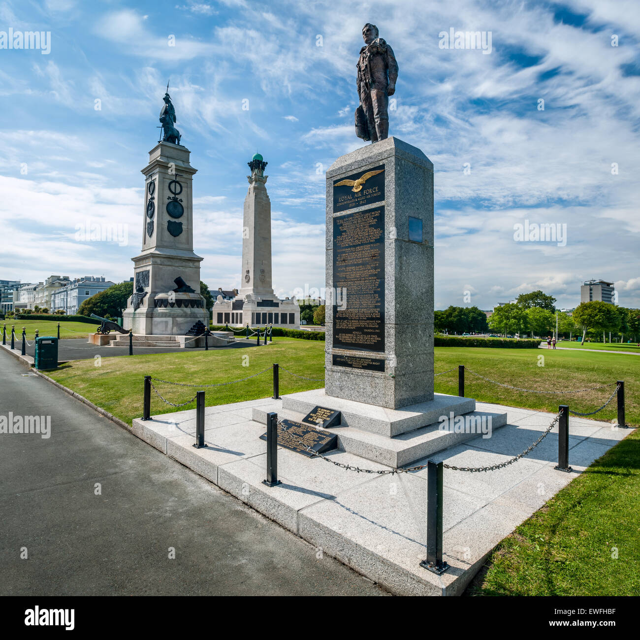The war memorials situated centrally on The Hoe facing towards Plymouth Sound. - Stock Image