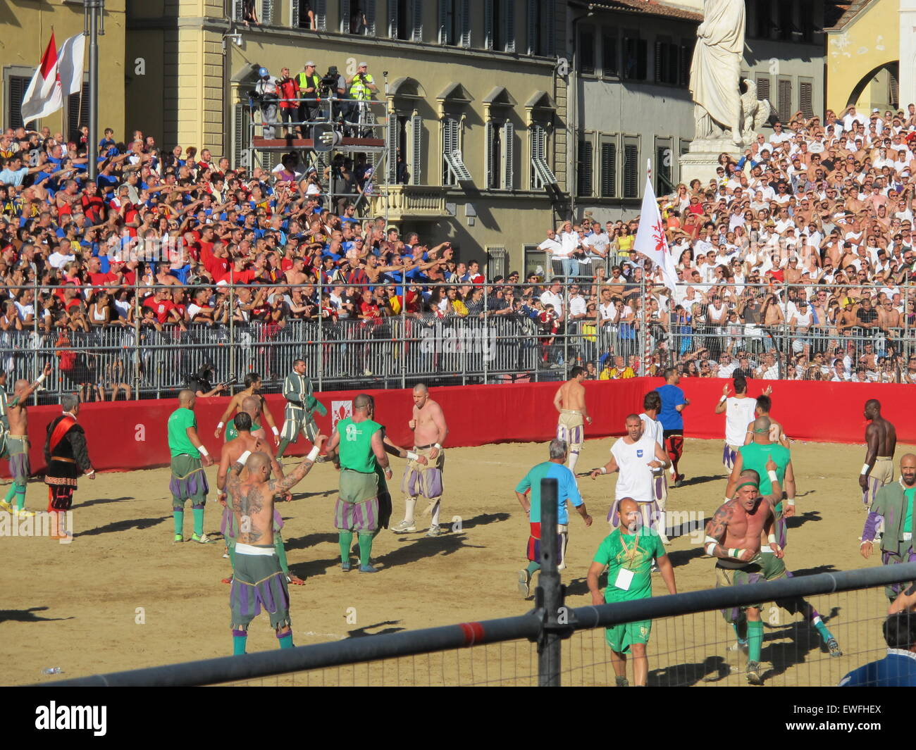 Florence, Italy. 24th June, 2015. Calcio Storico - a type of rugby with few rules that has been played here since Stock Photo