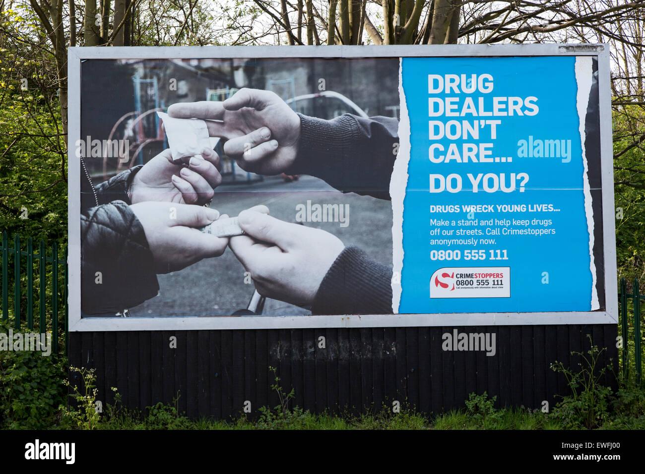 Anti drug dealing poster Ipswich, Suffolk, England, UK - Stock Image