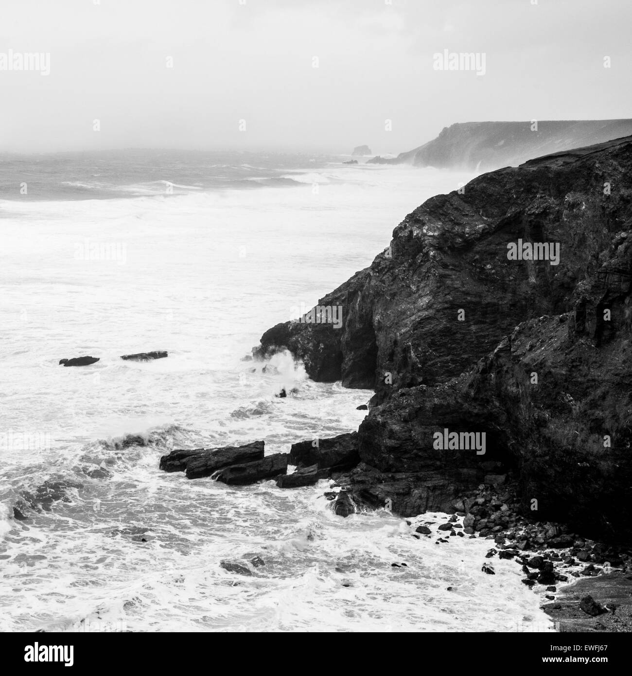 Cliffs on the North Coast of Cornwall as the storm 'Hercules' nears it's peak. - Stock Image