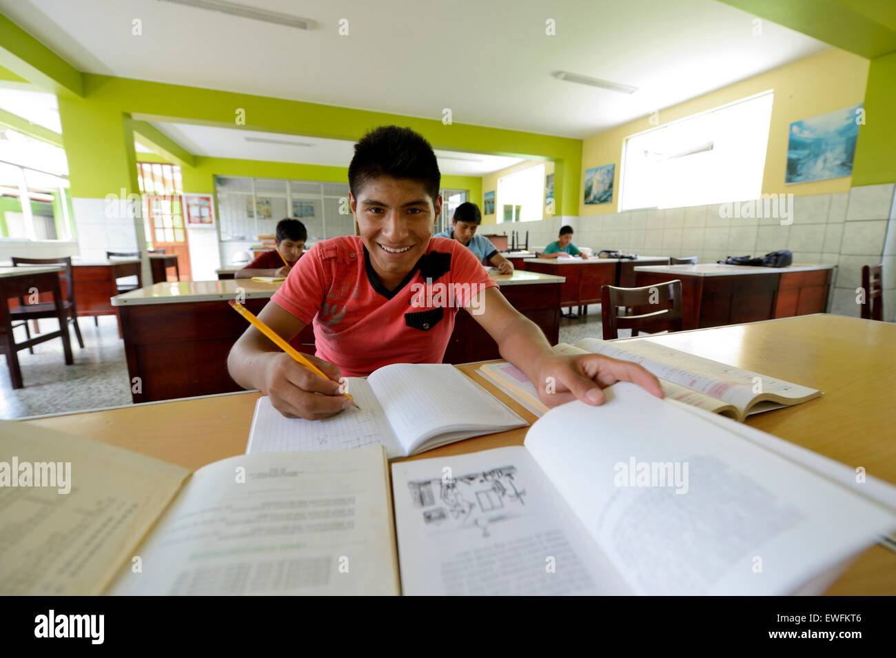 Student, teenager, 15 years, in a classroom, Brena, Lima, Peru - Stock Image