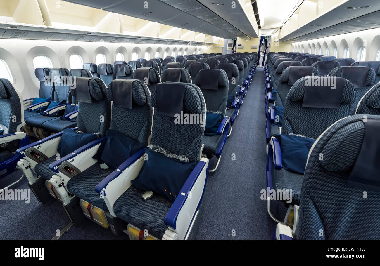 Economy Class seats inside a Boeing 787-9 Dreamliner of the