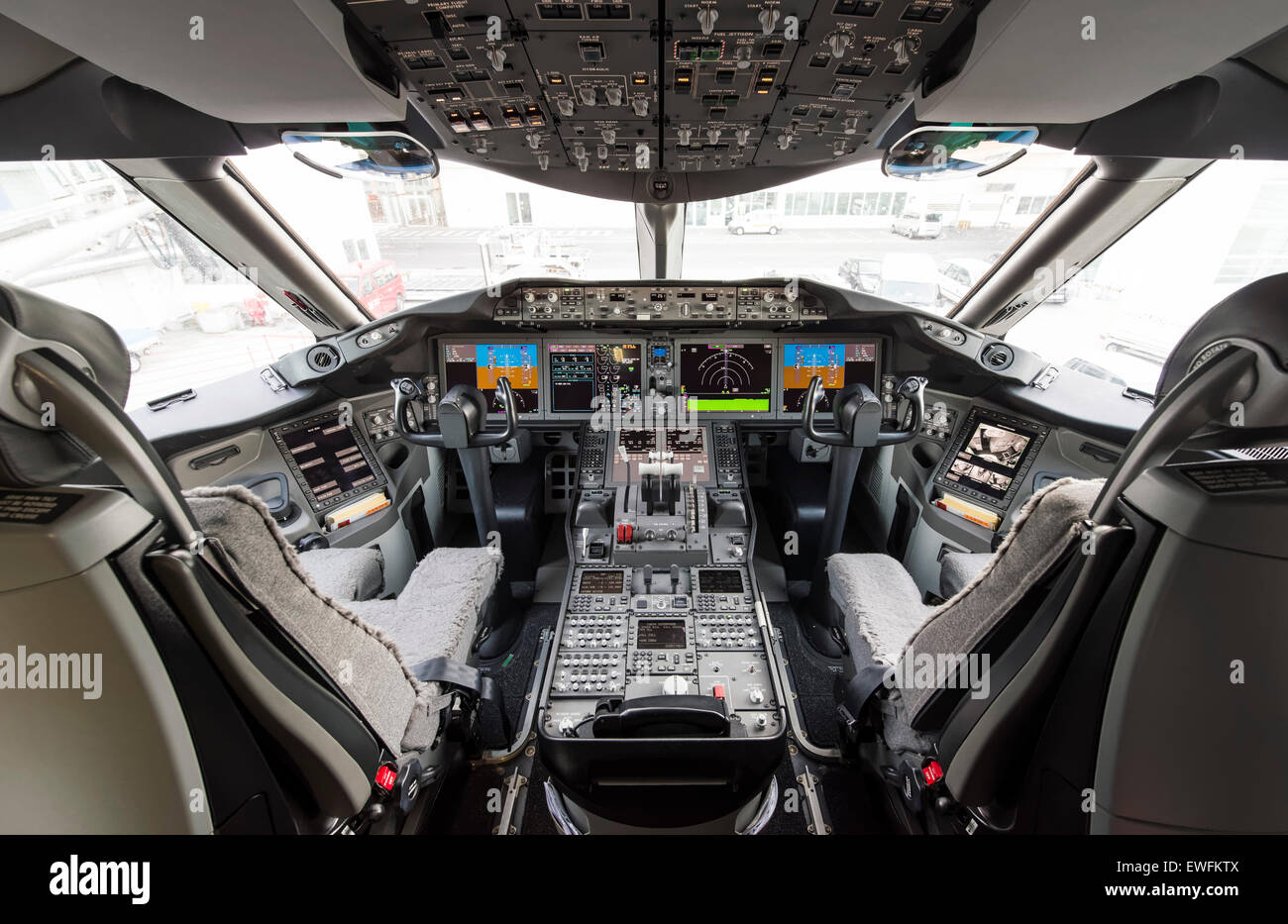 Cockpit Of A Boeing 787 9 Dreamliner Of The Airline ANA, Munich Airport,