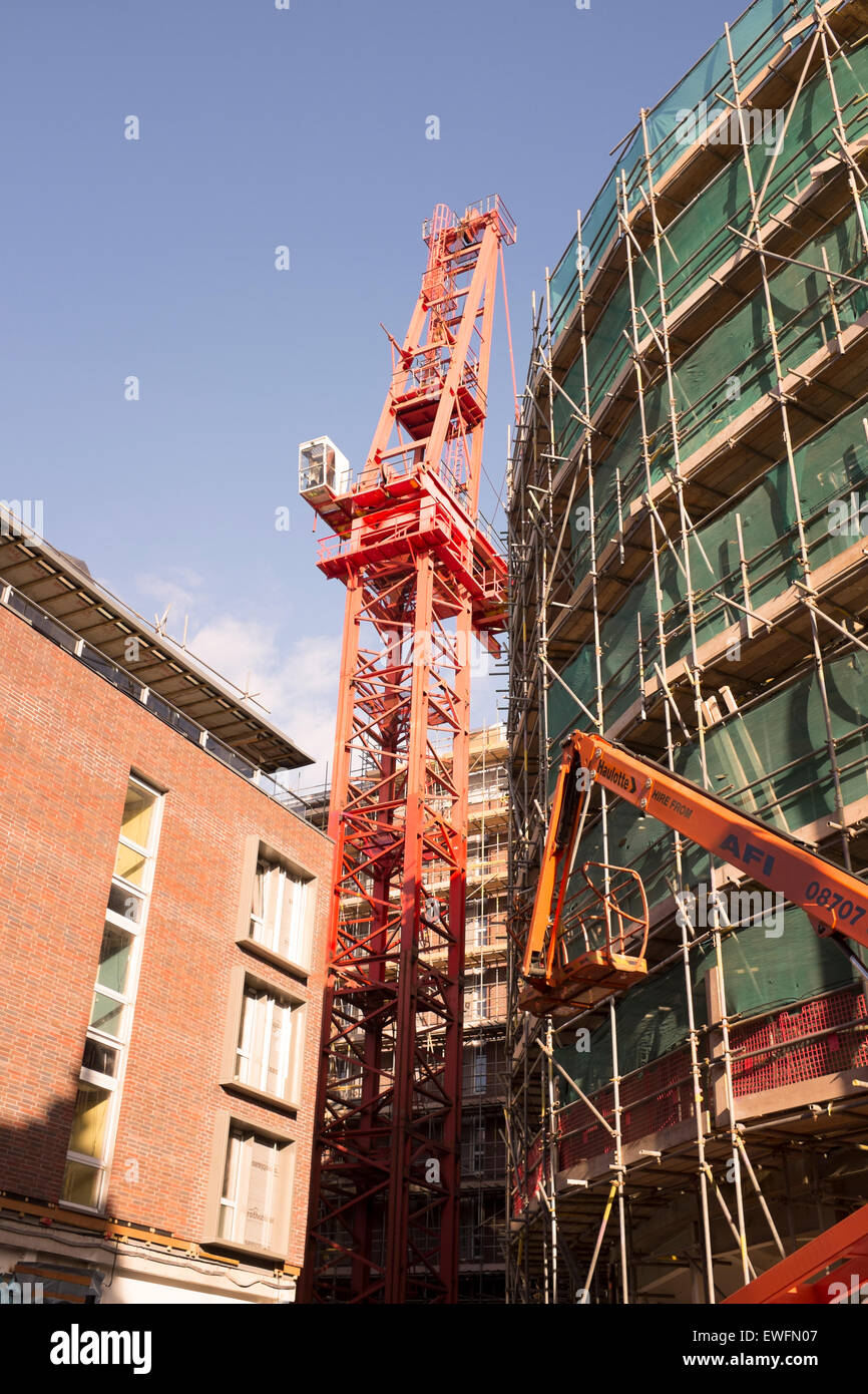 Heavy Lift Huge Crane Sarens Dismantling Building - Stock Image