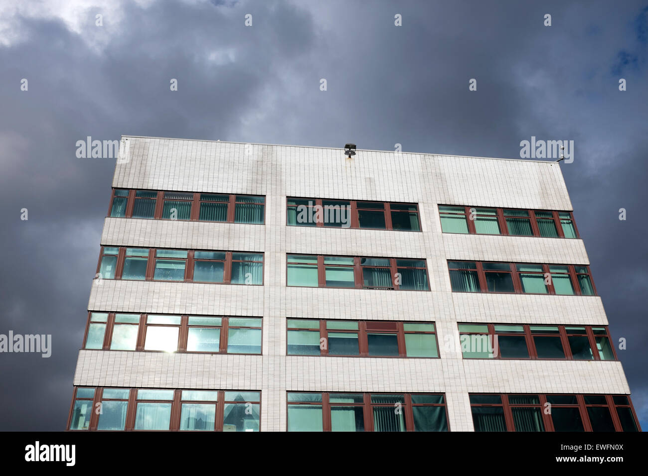Dark Sky Stormy 1960s Architecture Brutal Depressing - Stock Image