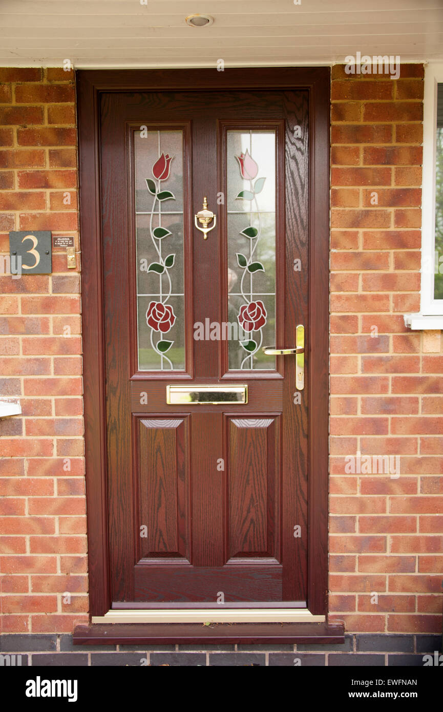 Modern Composite Upvc Front Door Brown Brass Fittings Stock Photo