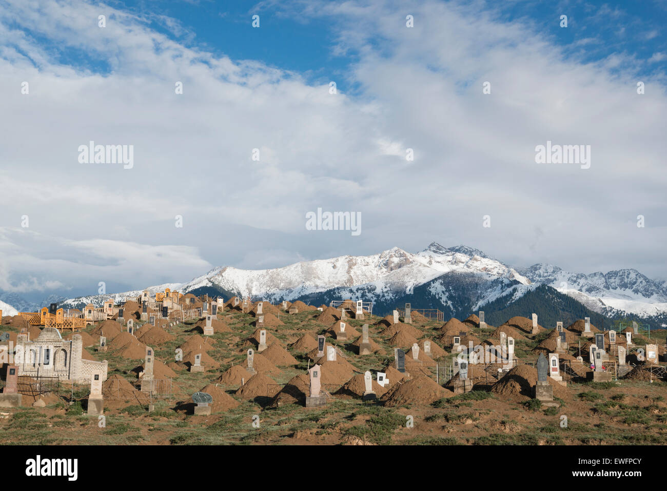 Cemetery. Barskoon. Lake Issyk-Köl. Kyrgyzstan. Central Asia. Stock Photo
