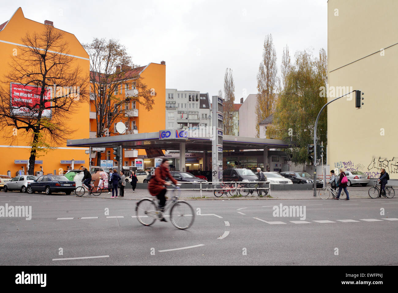 Berlin, Germany, GQ petrol station in the Karl-Marx-Strasse - Stock Image