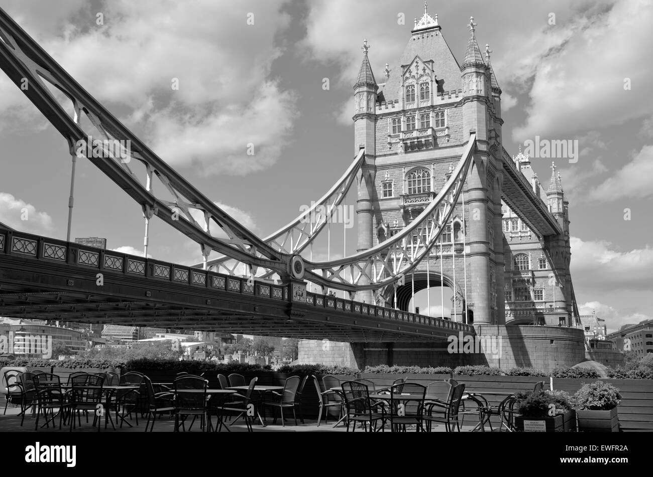 The Tower Bridge spanning over River Thames as view from the south bank in London, UK. (BW) - Stock Image