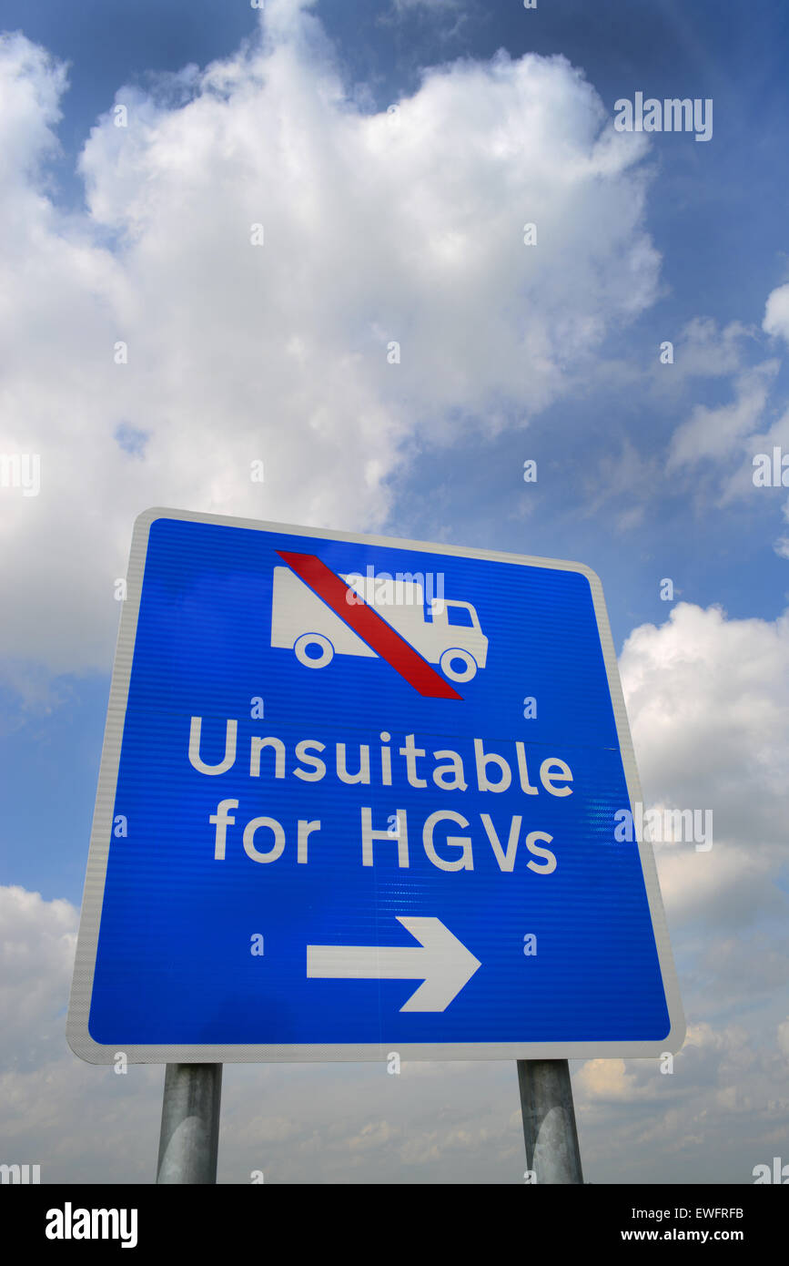 warning sign of road unsuitable for hgv;s ahead near Selby yorkshire united kingdom - Stock Image