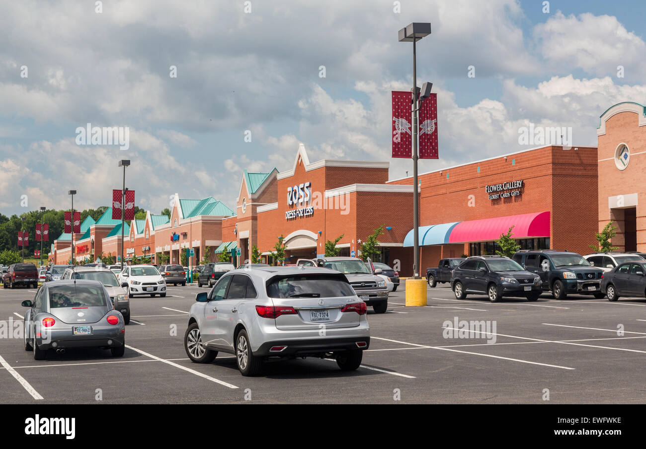 Entrances to many large stores in Manassas, Virginia, USA - Stock Image