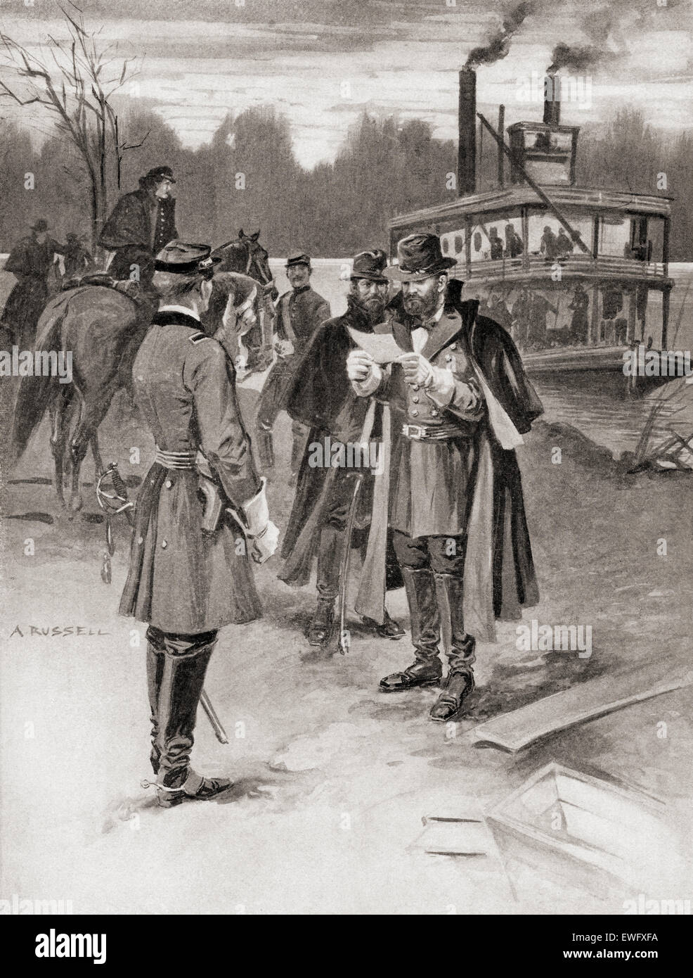 General Grant's arrival at The Battle of Shiloh, aka the Battle of Pittsburg Landing, 1862.   Ulysses S. Grant, - Stock Image