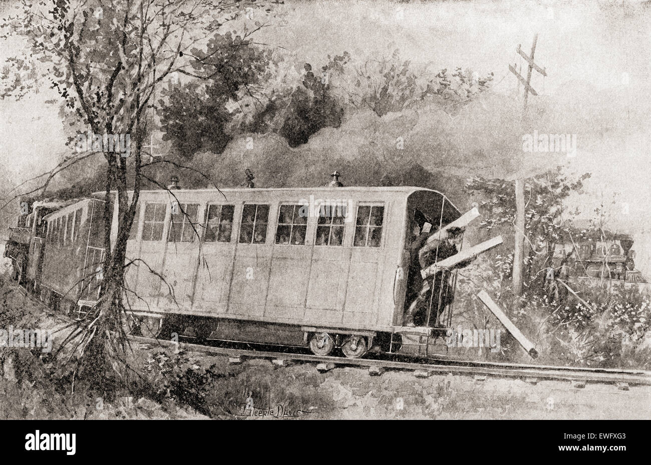 The Great Locomotive Chase or Andrews' Raid , a military raid that occurred April 12, 1862, in northern Georgia - Stock Image