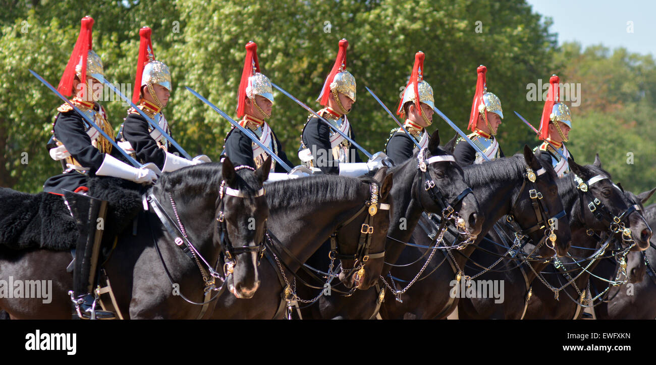 LONDON, UK - MAY 13 2015:Mounted troopers of the Household Cavalry during ceremony at Horse Guards.The soldiers - Stock Image
