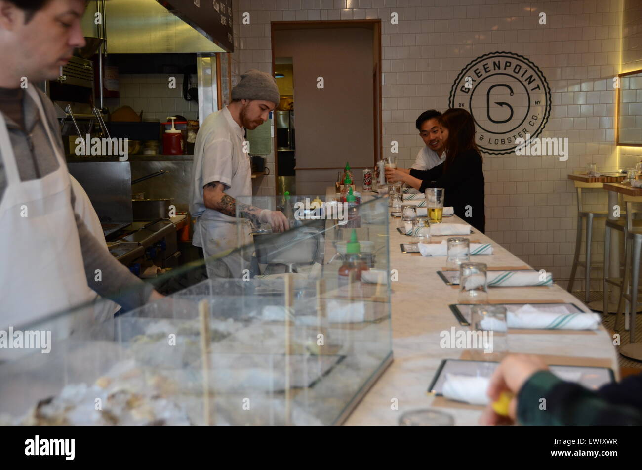 greenpoint fish and lobster compnay nassau avenue brooklyn new york - Stock Image
