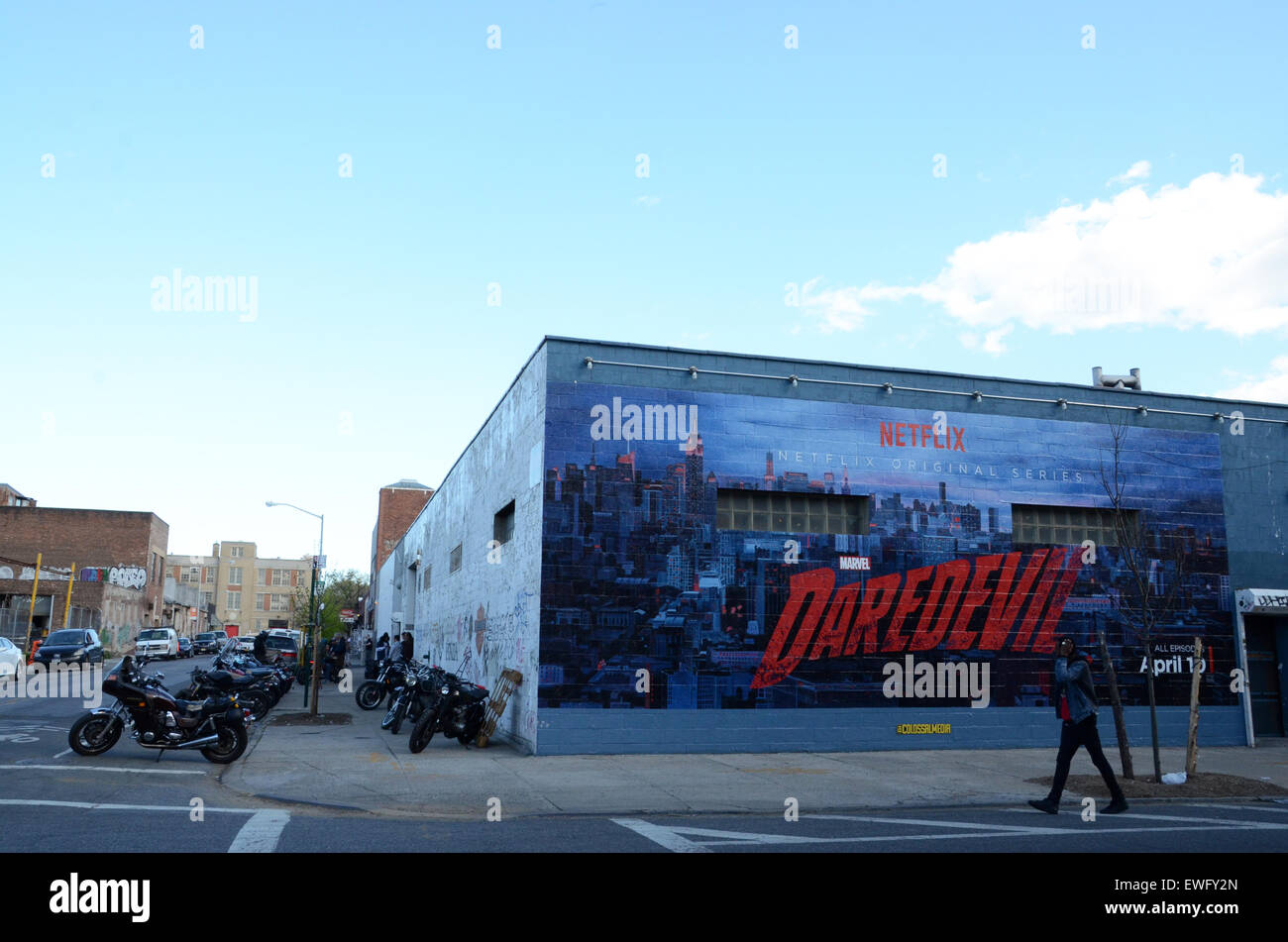 painted billboard adverts new york usa - Stock Image