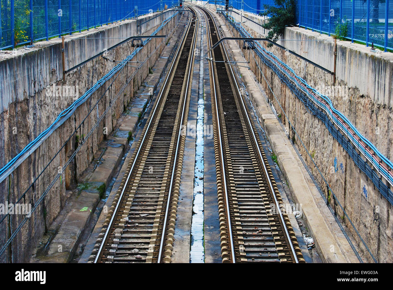 Path of Rail Line with Empty Tracks - Stock Image