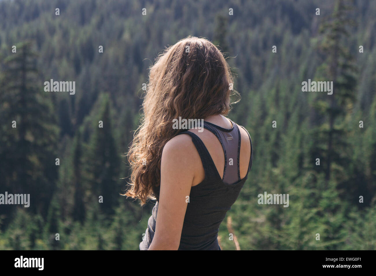Female with Back Turned Overlooking Forest - Stock Image