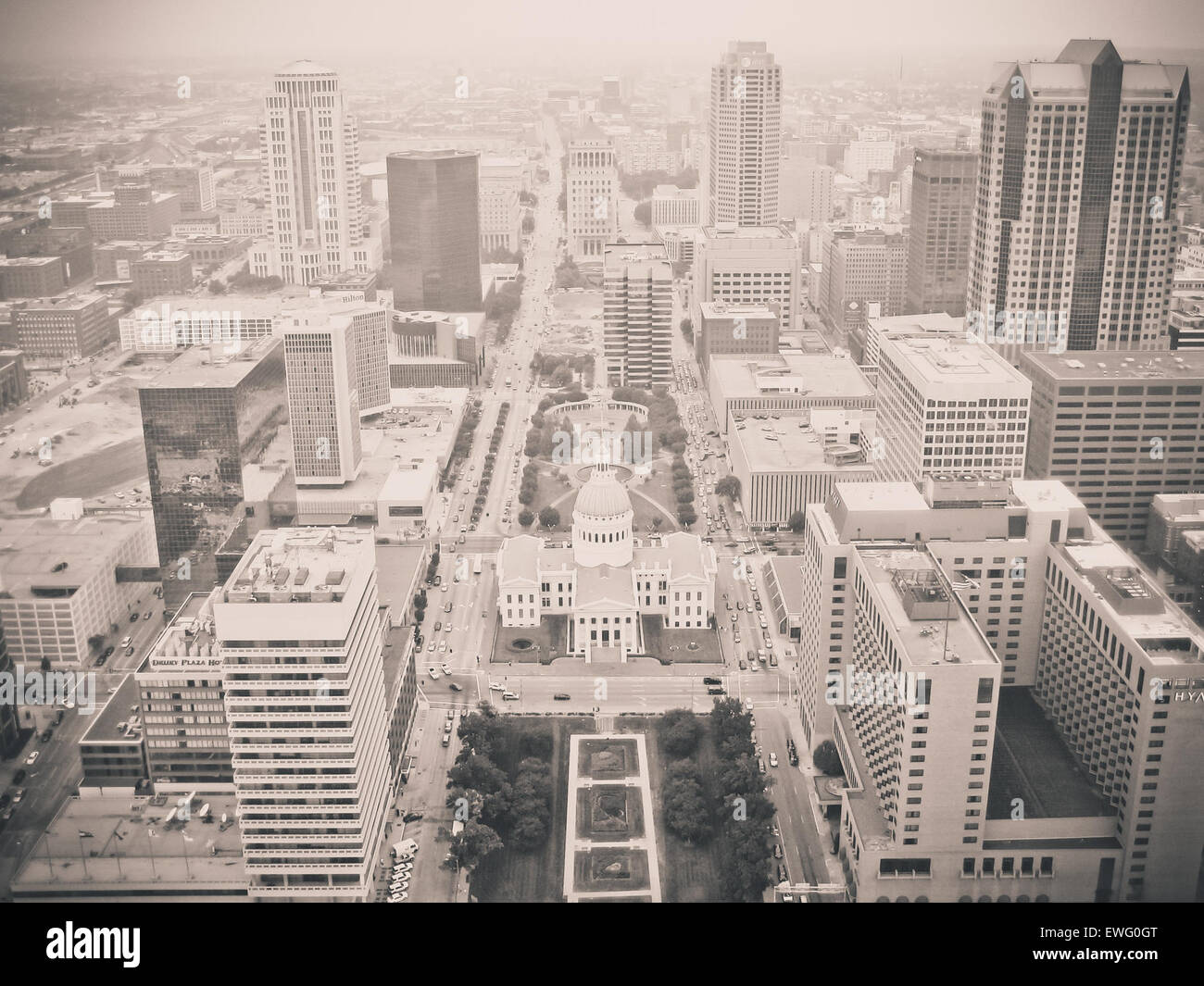 Monochrome City with Skyscrapers - Stock Image