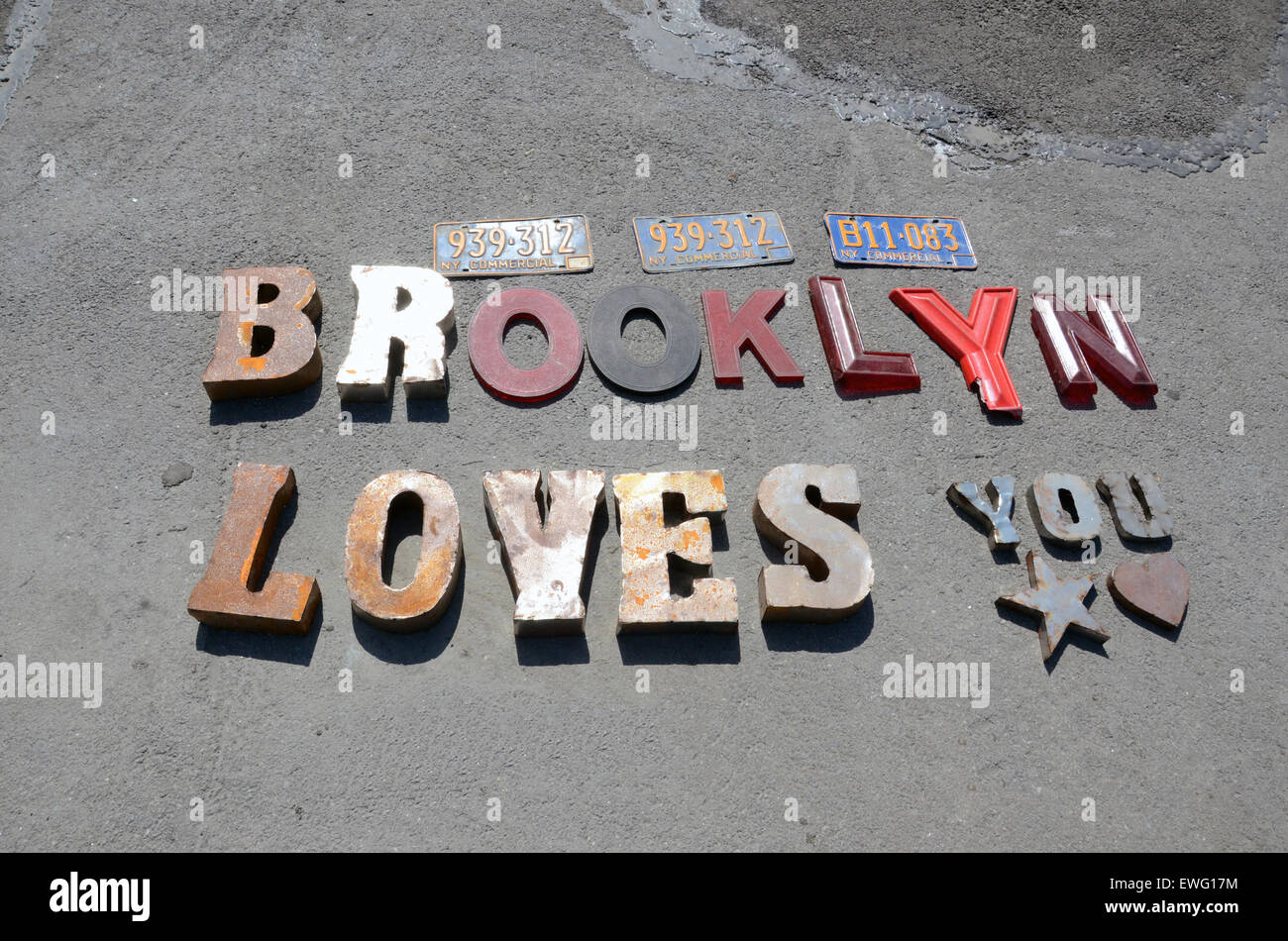 brooklyn loves you sign in letters new york - Stock Image