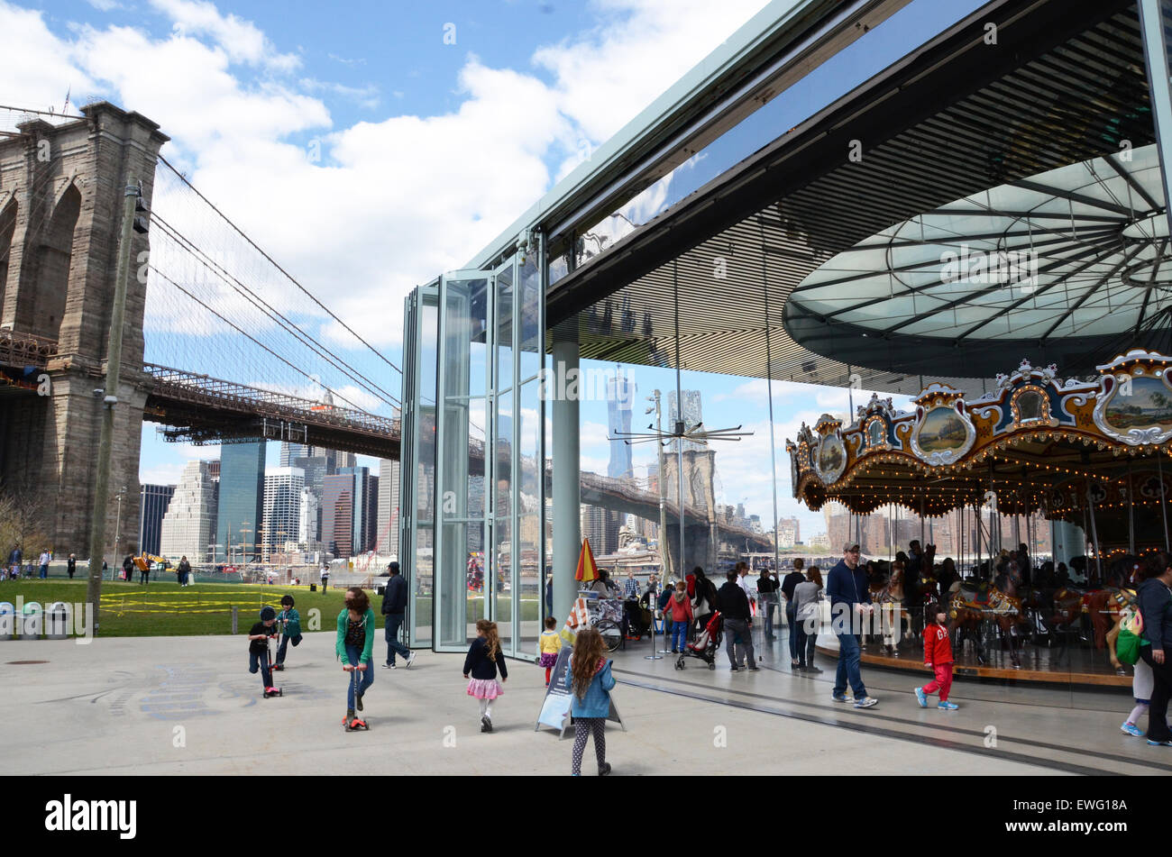 Jane's Carousel dumbo brooklyn bridge new york - Stock Image
