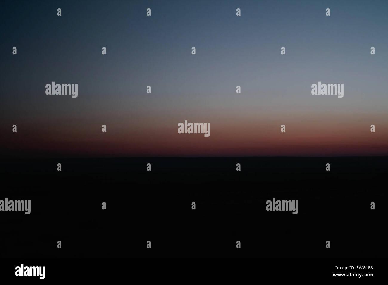 Minimalist Landscape of Sky before Sunrise Gradient Horizon Minimalist background dawn landscape sky sunrise - Stock Image