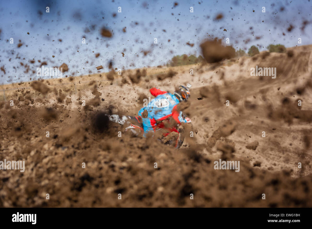 Motorbike Rider With Flying Dirt Dirt Bike Motorcycle Rider