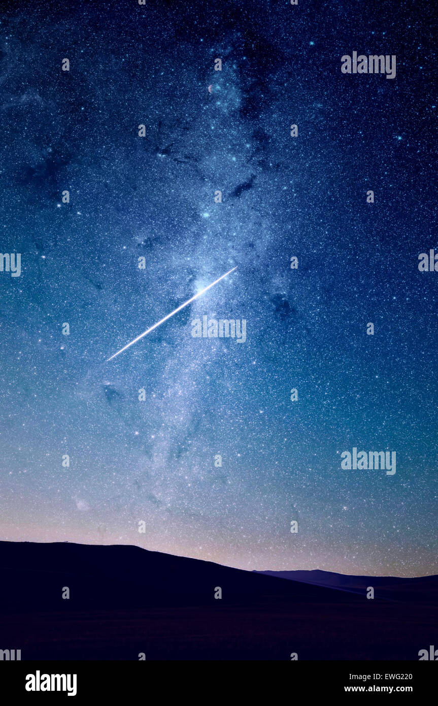 View of Milky Way Galaxy from Earth Abstract Milky Way astronomy galaxy night outdoor sky stars texture universe - Stock Image
