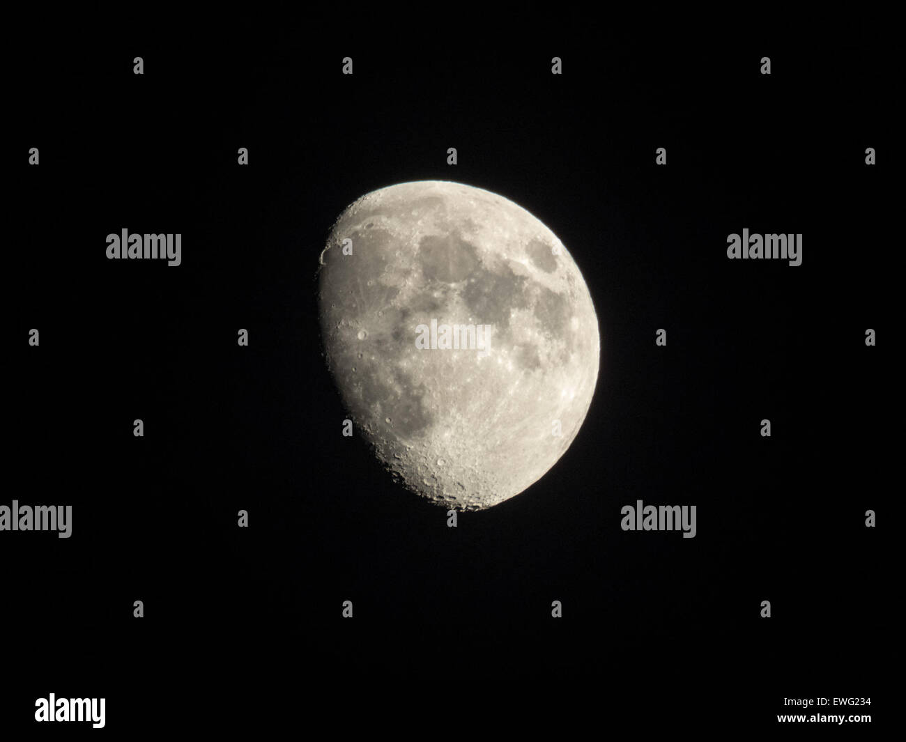 Waxing Gibbous Moon with Black Background Craters Luna Waxing Gibbous astronomy black background lunar moon night - Stock Image