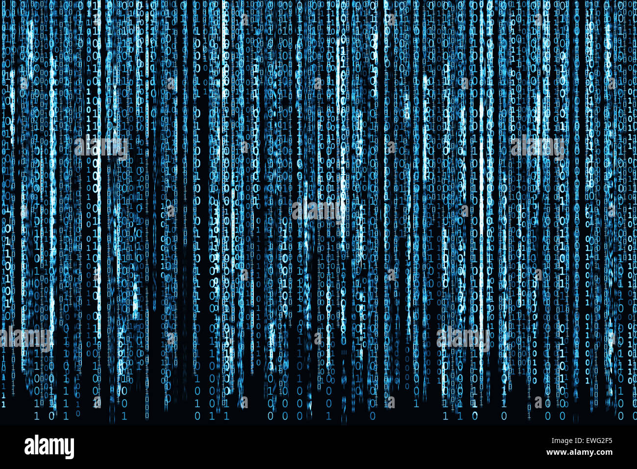 Blue Binary Code - Stock Image