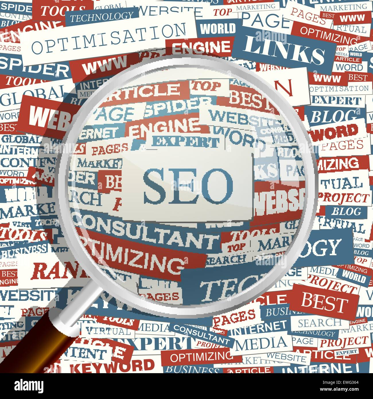 SEO. Concept related words in tag cloud. Conceptual info-text graphic. Word collage. - Stock Image