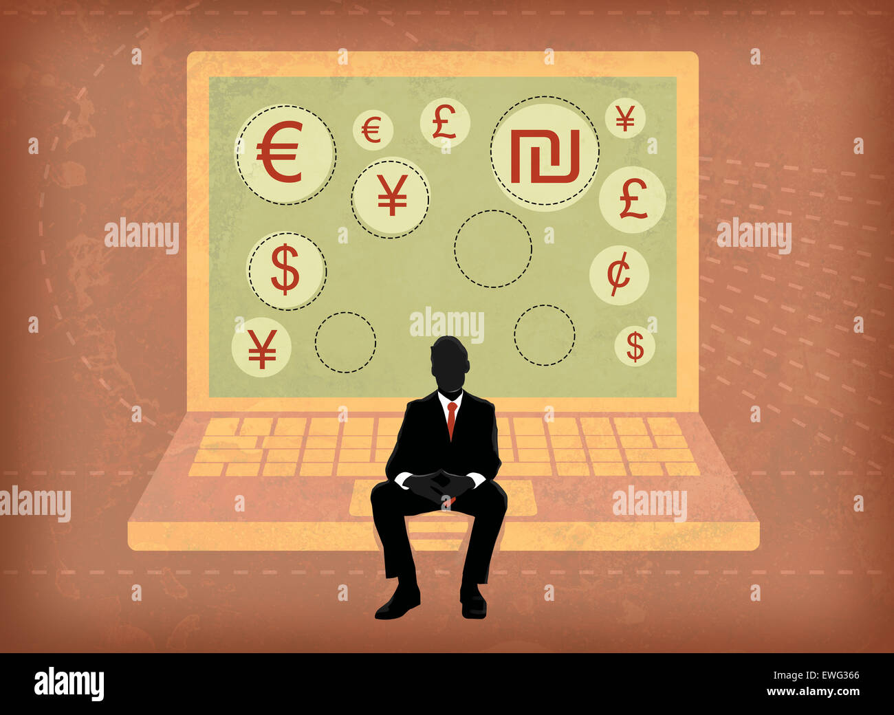 Businessman sitting on laptop screen showing global currency symbols - Stock Image