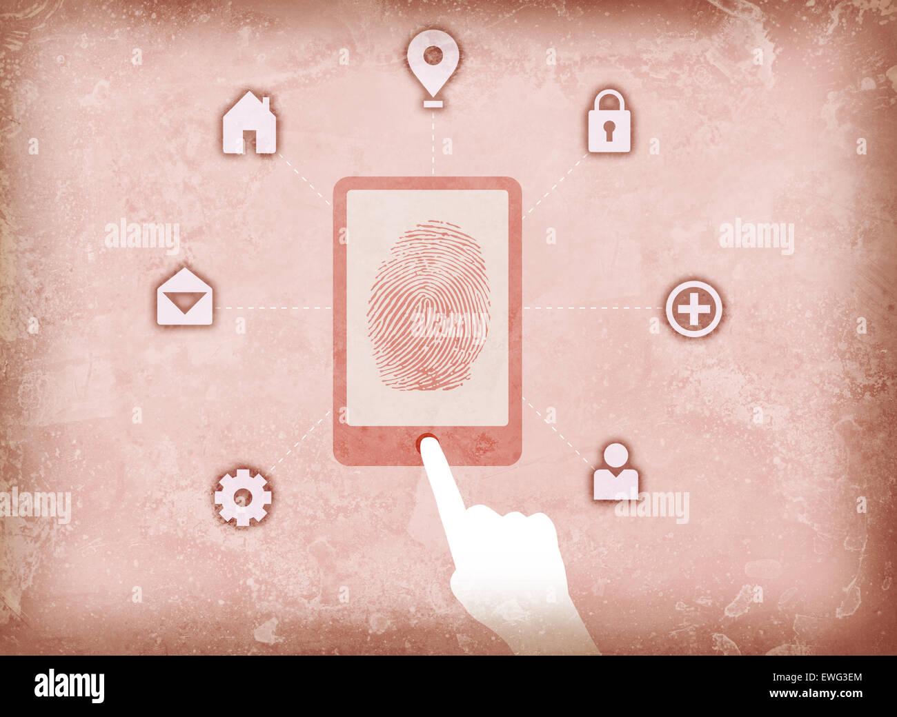 Illustration image of user accessing fingerprint scanner - Stock Image